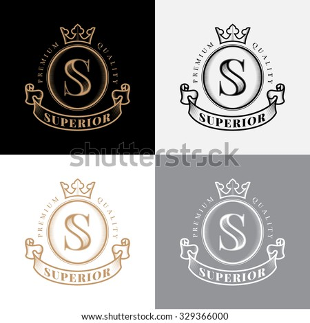 Emblem with crown, ribbon and letter S in vintage style. Vector illustration. - stock vector