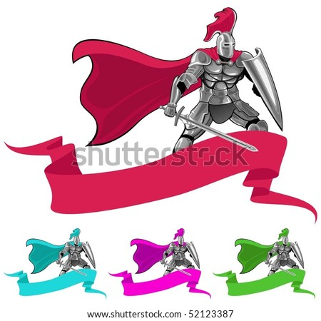 emblem with knight and banner - stock vector