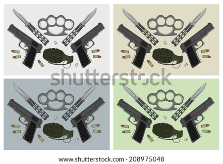Emblem with pistols, grenade, brass knuckle, butterfly knifes, broken teeth and bullets in different backgrounds - stock vector