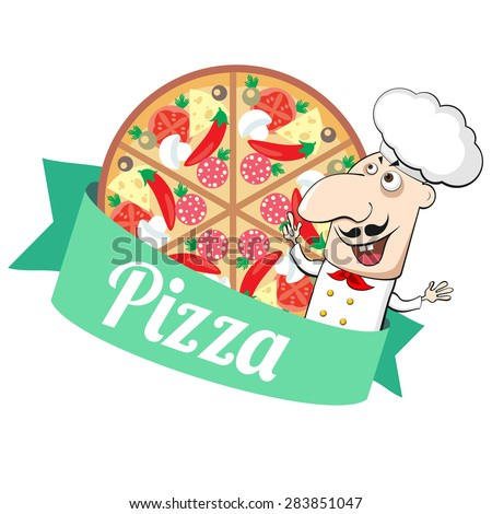Emblem with pizza and cartoon Italian cook