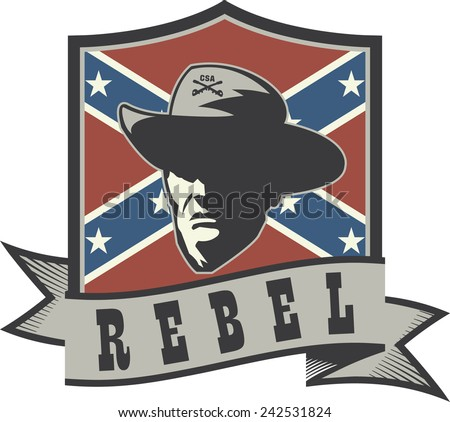 Emblem with rebel confederate officer, battle flag and ribbon - stock vector