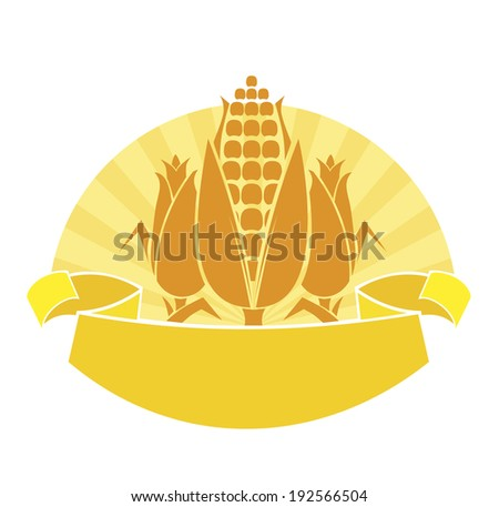 emblem with ripe ears of corn - stock vector