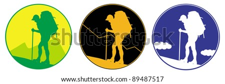 Emblem with silhouette  of Man with a backpack going up the hill. Mountains in the background. Vector. Separate layers - stock vector