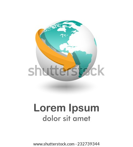 Emblem with white globe and orange arrow isolated on white background - stock vector