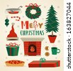 Emblems, labels and other elements. Christmas set. Vector illustration. - stock vector