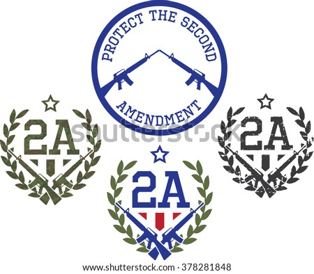 Emblems of support for The Second amendment-US Constitution. Digital camouflage and grunge textures. - stock vector