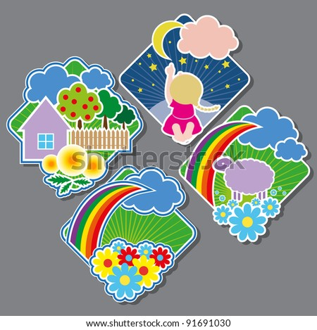 Emblems with cheerful drawings - stock vector
