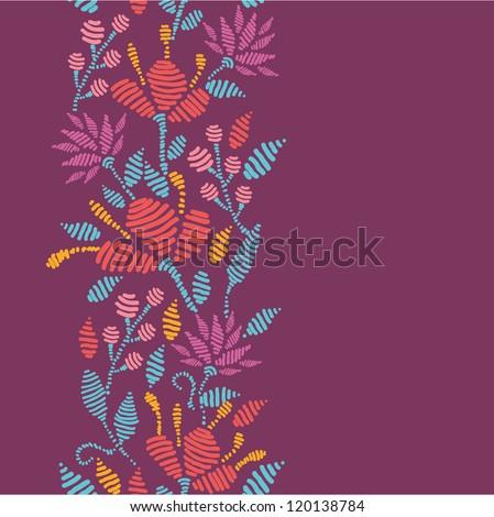 Emboridered Flowers Vertical Seamless Pattern border - stock vector