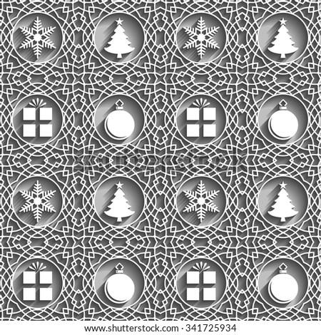 Embossed Christmas Symbols Seamless Pattern (Vector EPS10) - stock vector