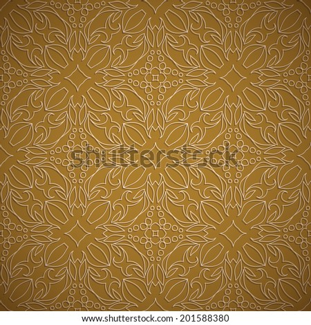Embossed fabric seamless oriental pattern mustard color - stock vector