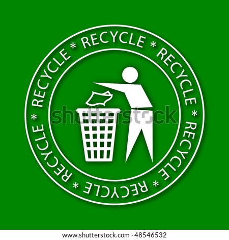 Embossed Recycling Sign (Vector) - stock vector