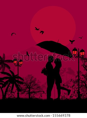 Embraced lovers in a park on red sunset, vector illustration - stock vector