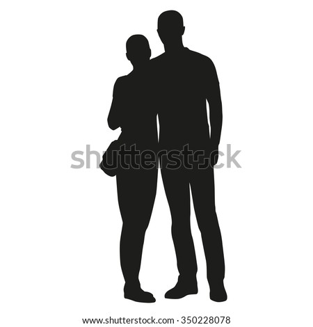 Embracing couple silhouette, cuddling, hugging - stock vector