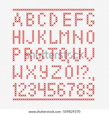 embroided by cross stitch english alphabet with numbers and symbols isolated on gray background vector