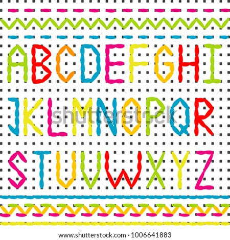 Embroidered Alphabet Sewing Stitch Borders Stock Vector 1006641883 ...