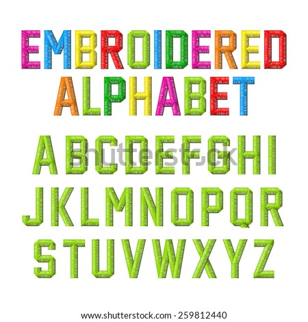 Embroidered alphabet. Vector. - stock vector