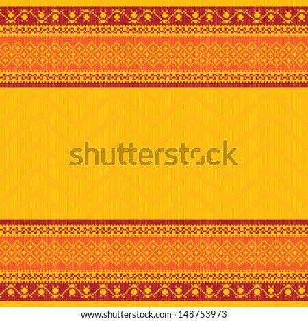Embroidered background in yellow seamless pattern