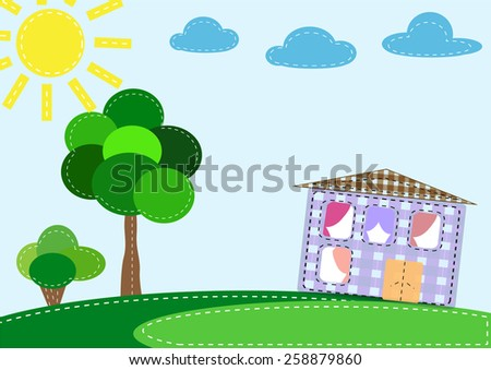 Embroidered cheerful colorful house in a cage. Vector illustration