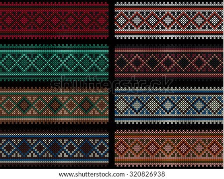embroidered colorful cross-stitch pattern. Ukrainian ethnic ornament, colorful, Hmong pattern, red, brown, green, blue, white, gray - stock vector
