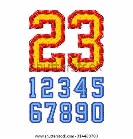 Embroidered font numbers vector illustration - stock vector
