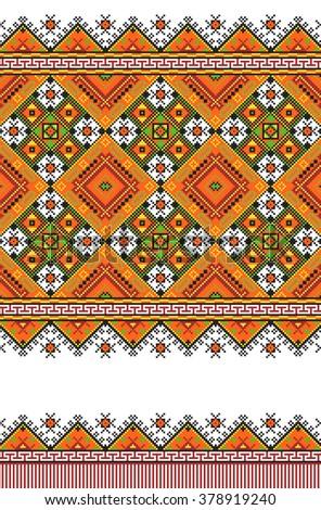 Embroidered good like old handmade cross-stitch ethnic Ukraine pattern. Traditional Ukrainian folk art pattern - vyshyvanka called. Hutsul colors - stock vector