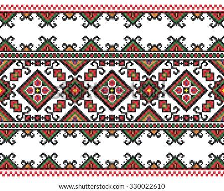 embroidered handmade cross-stitch ethnic Ukraine pattern - stock vector