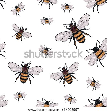 Embroidery Big Honey Bee And Small Funny Fashion Patch With Insects Illustration Seamless