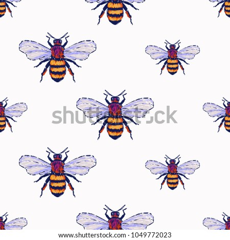 Embroidery Big Honey Bee Insect Patch Stock Vector 1049772023