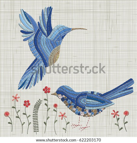 Embroidery Blue Bird And Pink Flowers Vector Embroidery Home Decor Ornament For Textile