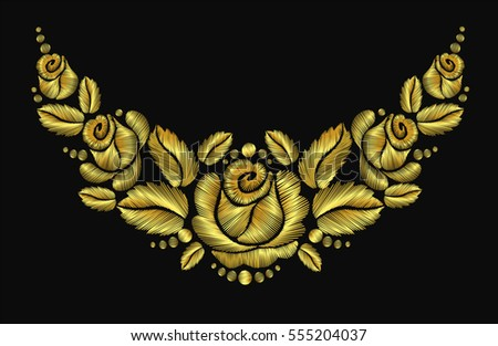 Embroidery crewel flower necklace traditional ornament decoration roses leaves rich glowing golden gold design vector illustration vintage retro style design