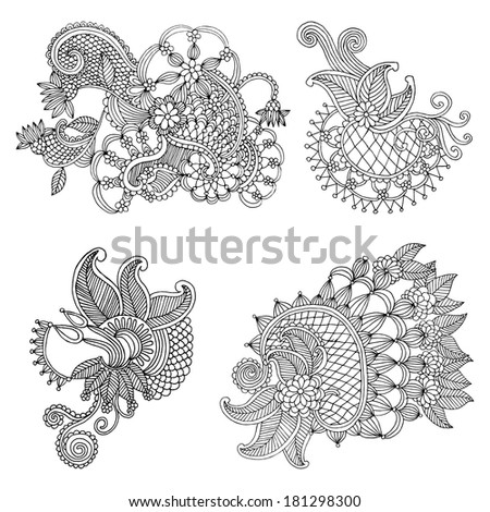 Embroidery floral design - stock vector