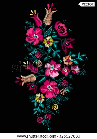 embroidery flower design - stock vector