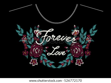 Embroidery for Fashion with Slogan, Hand drawing, T-shirt Printing