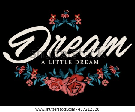 Embroidery for Fashion with Slogan   Hand made   T-shirt Printing - stock vector