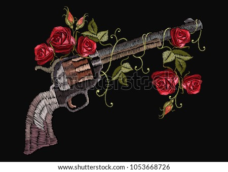 Embroidery Guns Flowers Roses Template Clothes Stock Vector