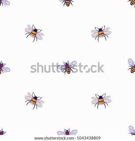Embroidery Honey Bee Insect Patch Fashion Stock Vector 1043438809