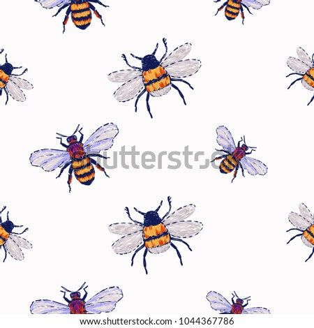 Embroidery Honey Bee Insect Patch Fashion Stock Vector 1044367786