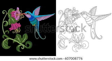 Embroidery Hummingbird Design Collection Fancywork Elements Stock