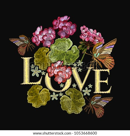 Embroidery lotus flowers butterfly love slogan stock vector royalty embroidery lotus flowers and butterfly love slogan clothes template t shirt design mightylinksfo