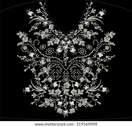 embroidery neck line design - stock vector