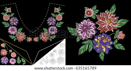 embroidery neckline design collection floral elements
