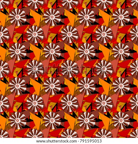 Embroidery seamless floral pattern with abstract flowers. Vector traditional embroidered sketch with flowers in brown, orange and black colors for clothing design.
