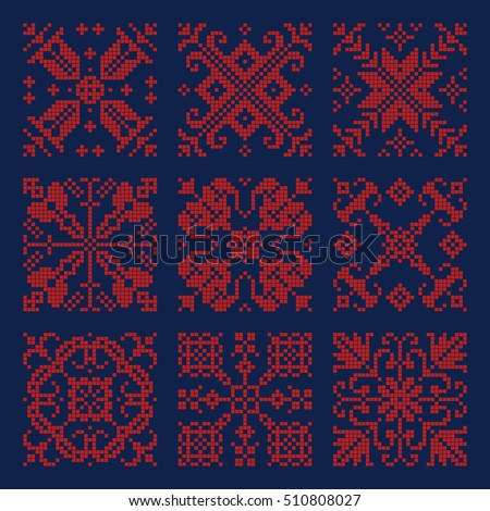 Embroidery textile pattern ornaments, scandinavian, ethnic.