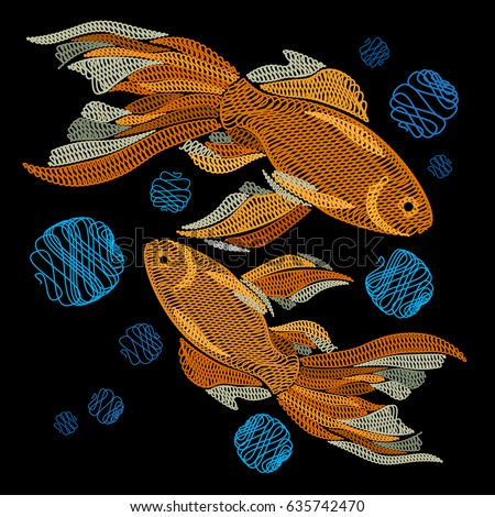 Goldfish stock images royalty free images vectors for Black and gold koi fish
