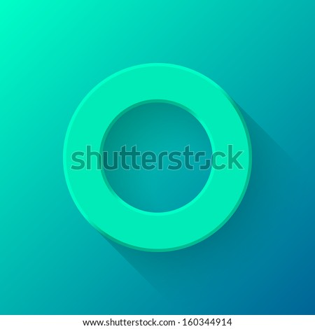 Emerald abstract technology volume knob, blank round button template with flat designed shadow and gradient background for web sites, user interfaces (ui) and applications (apps). Vector illustration. - stock vector