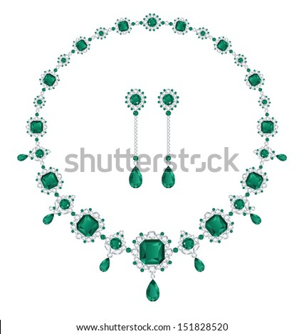 Emerald necklace and matching earrings - stock vector