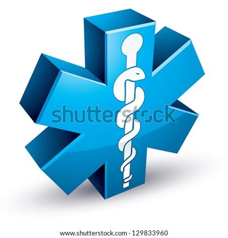 Emergency ambulance medicine symbol, 3d vector icon. - stock vector