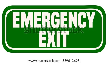 Emergency Exit Green Sign, Vector Illustration. - stock vector