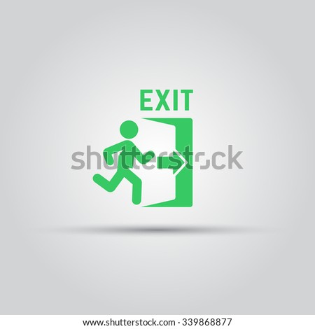 Emergency exit green sign with man silhouette running to doorway isolated vector