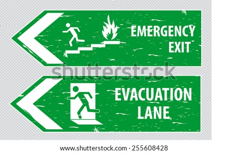 Emergency Exit or Evacuation Lane in vintage style. easy to remove scratch.